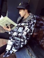 เสื้อโค้ทหนาแขนยาวเกาหลี สีดำ มีฮู้ด แต่งลายพิมพ์ภาพทั้งตัว เก๋มาก