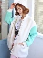 เสื้อ Jacket สีขาว คอกลม แขนยาว ผ้าสไตล์ baseball