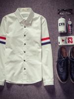 เสื้อเชิ้ตแขนยาวญี่ปุ่น สีขาว แต่งแถบสีแขนเสื้อ2ข้าง เรียบสวย