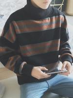 เสื้อแฟชั่นแขนยาวกันหนาว คอเต่า แต่งลายสลับสี มี3สี