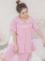 ชุดนอนเกาหลี แต่งคอปกเสื้อ ผูกโบว์ เสื้อแขนสั้น+กางเกง มี2สี