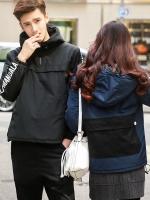 เสื้อแจ็คเก็ตแขนยาวเกาหลี มีฮู้ด แต่งลายแขนเสื้อ แนวโมเดิร์น มี2สี