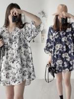 ชุดเดรสสั้นเกาหลี พิมพ์ลายดอกไม้ทั้งตัว ผ้าสวยใส่สบาย มี2สี