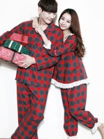 ชุดนอนคู่รักเกาหลี ลายสก็อตสีแดงคริสต์มาส เสื้อแขนยาว+กางเกงขายาว
