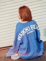 เสื้อแฟชั่นแขนยาวเกาหลี สีน้ำเงิน ทรงหลวม stylenanda Hawai