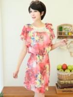++เสื้อผ้าไซส์ใหญ่++* Pre-Order* ชุดเดรสเกาหลีไซส์ใหญ่ผ้าชีฟองพิมพ์ลายแต่งลูกไม้ตรงคอแต่งระบา่ยช่วงแขนสวยค่ะ