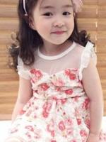 ชุดเดรสสั้นเด็กหญิงเกาหลี สีตามรูป พิมพ์ลายดอกไม้ทั้งตัว แต่งซีทรูช่วงอก+สายผูกเอว