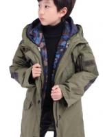 เสื้อแจ็คเก็ตโค้ทหนาเด็กเกาหลี ใส่ได้2ด้าน มีฮู้ด แต่งซิบ+กระเป๋าเสื้อ มี3สี