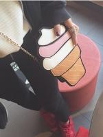 กระเป๋าสะพายข้างหญิงแฟชั่น แต่งรูปไอศกรีม/กระปุกน้ำหอม เก๋มาก มี2ลาย