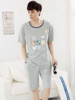 ชุดนอนเกาหลี สีเทา พิมพ์ลายด้านหน้า เสื้อแขนสั้น+กางเกงขาสั้น