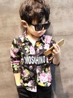 เสื้อเชิ้ตแขนยาวเด็กเกาหลี สีดำ พิมพ์ลายดอกไม้ทั้งตัว ซับในกำมะหนี่หนา