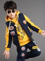 ชุดวอร์มเด็กเกาหลีแนว Sport เซท3ชิ้น สีเหลือง แต่งปะป้าย เสื้อกั๊กด้านนอก+เสื้อแขนยาว มีฮู้ด+กางเกงขายาว