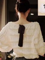 ++สินค้าพร้อมส่งค่ะ++ เสื้อแขนยาวเกาหลี คอกลม ดีไซด์เป็นขั้นๆ เนื้อผ้านุ่มเนื้อดีมากมีซับใน แต่งโบว์ผูกด้านหลัง – สีขาว