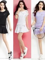 เสื้อกีฬาเกาหลี ชุดเซทเสื้อแขนสั้น+กระโปรง แต่งซิบ มี4สี