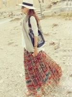 กระโปรงยาวเกาหลี ลายชนเผ่า แนวโบฮีเมียน ผ้าซีฟอง