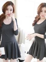 ++สินค้าพร้อมส่งค่ะ++ชุดเดรสเกาหลี คอกลม แขนยาว ผ้า cotton knitted เนื้อดีมากๆ ค่ะ ช่วงปลายเดรสบานย้วยค่ะ มี 5 สีค่ะ – สี Dark Gray
