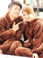ชุดนอนคู่รักเกาหลี มีฮู้ด ขนหมีน่ารักทั้งตัว เสื้อแขนยาว+กางเกงขายาว ผ้าหนานุ่มอุ่นสบาย มี2สี