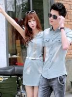 ชุดคู่รักเกาหลี สีฟ้าอ่อน ผ้ายีนส์ เสื้อเชิ้ตแขนสั้น/เดรสสั้น แต่งดิ้น