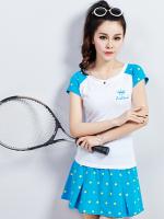 เสื้อกีฬาเกาหลี ชุดเซทเสื้อแขนสั้น+กระโปรง แต่งลายจุด มี4สี