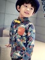 เสื้อเชิ้ตแขนยาวเด็กเกาหลี สีฟ้า พิมพ์ลายทั้งตัว ซับในกำมะหนี่หนา