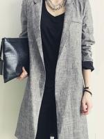 เสื้อ Coat สีเทา ตัวยาว คอปก แขนยาว ผ้าเนื้อดีมีน้ำหนัก สไตล์ minimalist