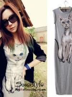 ++สินค้าพร้อมส่งค่ะ++ชุดเดรสเกาหลี ยาว แขนเต่อ ผ้าพิมพ์ลายน้องแมวตัวโต แต่งปลายหน้าแฉกยาว - สี Light Grey