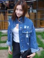 เสื้อแฟชั่นสี Blue Jean คอปก แขนยาว ผ้ายีนส์เนื้อดีมาก ดีไซด์สุดเซอชายเสื้อรุ่ยๆ