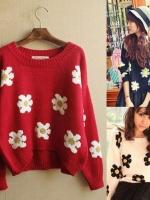 ++สินค้าพร้อมส่งค่ะ++ เสื้อสเวตเตอร์เกาหลี คอกลม แขนยาว ทอลายดอกไม้ daisy น่ารัก มี 3 สีค่ะ - สีแดง