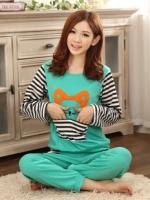 ชุดนอนแขนยาวลายบีเวอร์มีกระเป๋าจิงโจ้ที่เสื้อ+กางเกงขายาว สไตล์การ์ตูนน่ารักเกาหลี