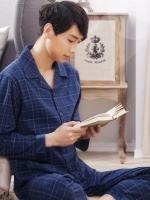 ชุดนอนเกาหลี สีน้ำเงินเข้ม ลายตาราง เสื้อแขนยาวติดกระดุม+กางเกงขายาว