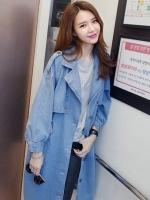เสื้อ Coat สี Light Blue ตัวยาว คอปก แขนยาว ผ้ายีนส์เนื้อดีมาก+เข็มขัด