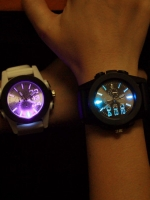 นาฬิกาข้อมือแฟชั่น LED เกาหลี สไตล์ฮาราจูกุ ทรงกลม มี2สี