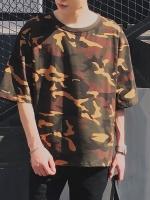 เสื้อแฟชั่นแขนสั้นเกาหลี แต่งลายพรางทหาร ทรงหลวม