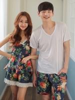 ชุดนอนคู่รักเกาหลี พิมพ์ลายดอกไม้ทั้งตัว เสื้อแขนสั้น+กางเกงขาสั้น+ชุดเซทสายเดี่ยว