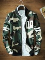 เสื้อแจ็คเก็ตเกาหลี สีเขียว ลายทหาร แต่งแถบแขนเสื้อ