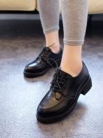 รองเท้าคัทชูส้นสูงหนัง PU สีดำคลาสสิคสุดสไตล์อังกฤษ ส้นพื้นหลังลายพิมพ์กะโหลก