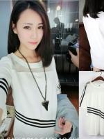 ++สินค้าพร้อมส่งค่ะ++เสื้อแฟชั่นเกาหลี ตัวยาว คอกลม แขนสามส่วน ผ้า polyester ผสม cotton แต่งแถบเสื้อลายเส้นสวยสไตล์ mosaic – สีขาว