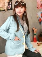 ++สินค้าพร้อมส่งค่ะ++ เสื้อสูท สไตล์เกาหลี เนื้อดี ดีไซด์กลาสี ปักที่กระเป๋าบนอก และมีกระเป๋าคู่ล่าง ขลิบขอบรอบตัวเสื้อ - สีฟ้า