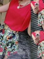 ++สินค้าพร้อมส่งค่ะ++ ชุดแฟชั่นเซ็ทเกาหลี เสื้อคอกลม แขนกุด ผ้าชีฟอง ลำตัวกว้างมากค่ะ+กระโปรงสั้น ผ้าพิมพ์ลายดอกไม้ จับจีบทบน่ารัก – สีแดง