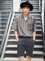 เสื้อเชิ้ตแขนสั้นญี่ปุ่น แต่งลายแนวตั้ง ดีไซน์กระเป๋าเสื้อ มี4สี