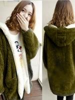 ++สินค้าพร้อมส่งค่ะ++ เสื้อ coat เกาหลี ตัวยาว แขนยาว สไตล์ cardigan มี hood แต่งกระเป๋าใหญ่สองข้าง สีเขียวทหาร