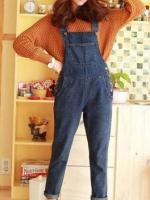 ชุดเอี้ยมกางเกงขายาว สี Dark Blue ผ้ายีนส์เนื้อดีมาก ทรงสวย สไตล์เอี้ยมแนว Vintage