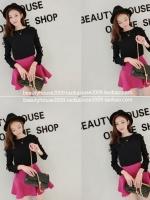 ++สินค้าพร้อมส่งค่ะ++ ชุดเซ็ทเกาหลี เสื้อคอกลม ซิบหลัง แขนยาว แต่งโบว์เล็กๆ เปิดแขนน่ารัก+กระโปรงหางปลาน่ารัก ซิบหลัง – สีดำ/Rose