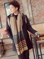 ผ้าพันคอแฟชั่นเกาหลี สีตามรูป ดีไซส์แถบสลับสี มี2สี