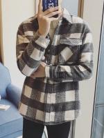 เสื้อแจ็คเก็ตเกาหลี แต่งกระเป๋าเสื้อคู่ที่อก ลายตาราง มี2สี