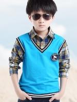 เสื้อเชิ้ตแขนยาวเด็กเกาหลี ลายสก๊อต แต่งเสื้อกั๊กคลุมชั้นนอก มี2สี