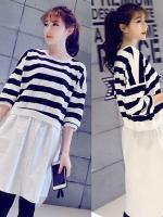 ++สินค้าพร้อมส่งค่ะ++ เสื้อแฟชั่นเกาหลี ตัวยาว คอกลม แขนสามส่วน ผ้า cotton+silk ตัดต่อเท่ห์ดีไซด์เก๋ – สีขาว/ดำ