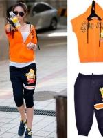 ++ชุดออกกำลังกายพร้อมส่งค่ะ++ ชุดกีฬาเกาหลี เสื้อ Jacket แขนเลย มี Hood +กางเกงขาสามส่วน Simson แต่งเก๋ – สี ส้ม