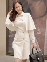 ชุดเดรสแจ็คเก็ตสีขาว กระดุมสองแถว คอปก ดีไซน์เสื้อคลุม สวยหรูไฮโซ