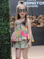 ชุดเด็กแฟชั่นเกาหลี ชุดเซทเสื้อแขนกุด พิมพ์ลายดอกไม้+กางเกงขาสั้น มี2สี